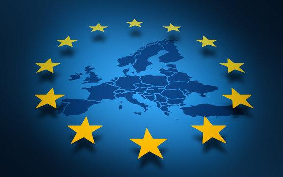 Union Européenne carte drapeau