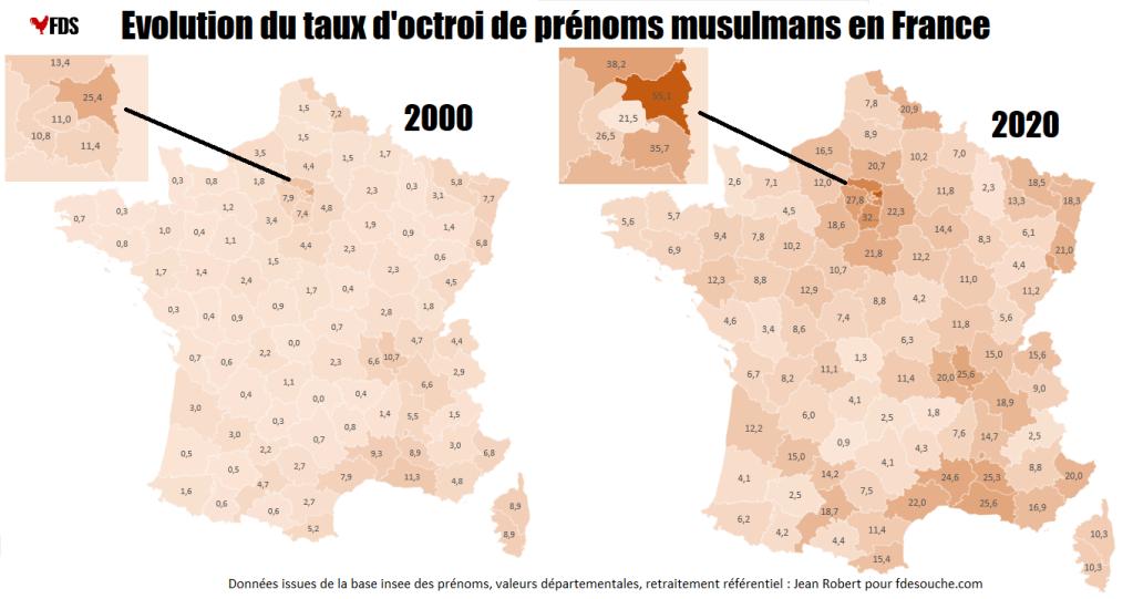 Carte prénoms musulman France